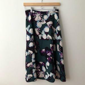 BANANA REPUBLIC high waisted midi floral skirt